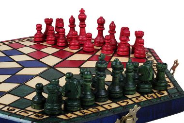 THE THREE PLAYER CHESS IN RED/BLUE/GREEN COLOR